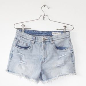 Blank NYC Light Wash Distressed Wedge Shortie  28